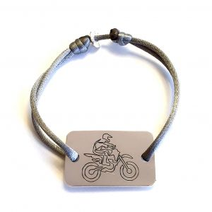 Bracelet homme plaque moto-cross 22x35 mm