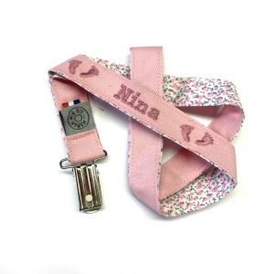 Attache sucette rose liberty