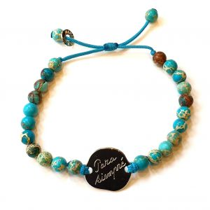 Bracelet perles turquoises galet rond